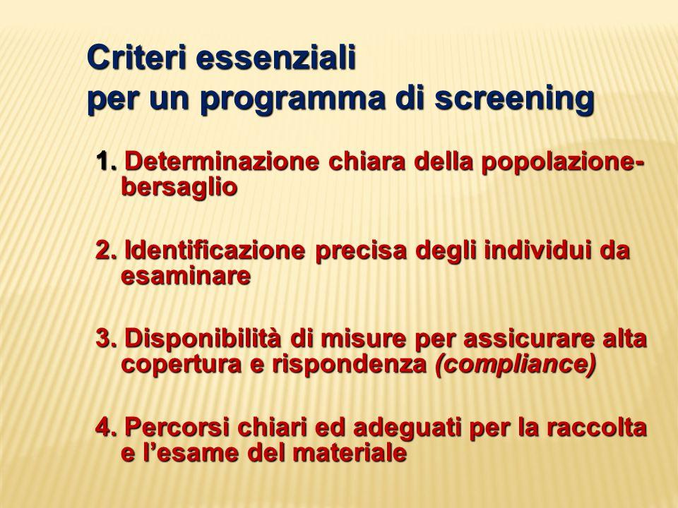 Criteri essenziali per un programma di screening