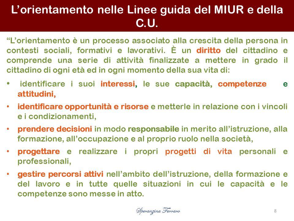 L'orientamento nelle Linee guida del MIUR e della C.U.