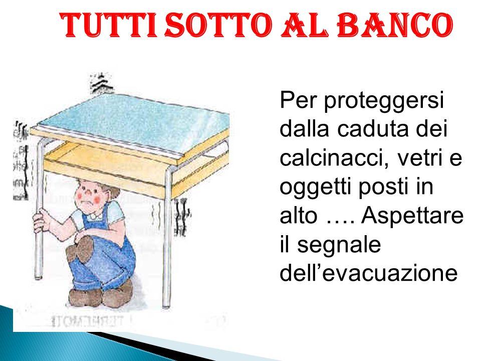Tutti sotto al banco Per proteggersi dalla caduta dei calcinacci, vetri e oggetti posti in alto ….