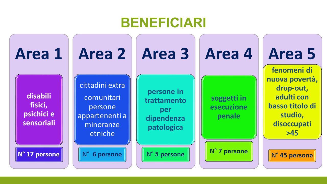 beneficiari Area 1. disabili fisici, psichici e sensoriali. N° 17 persone. Area 2. cittadini extra.