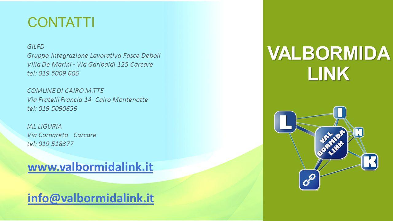 VALBORMIDA LINK CONTATTI www.valbormidalink.it info@valbormidalink.it