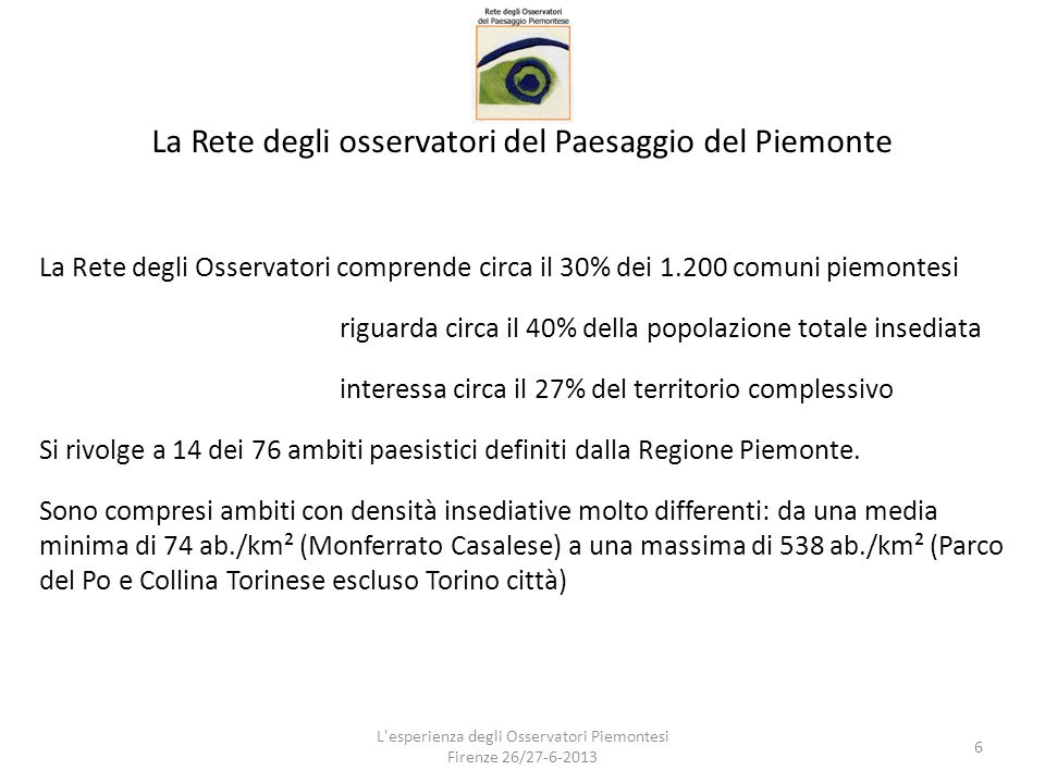La Rete degli osservatori del Paesaggio del Piemonte