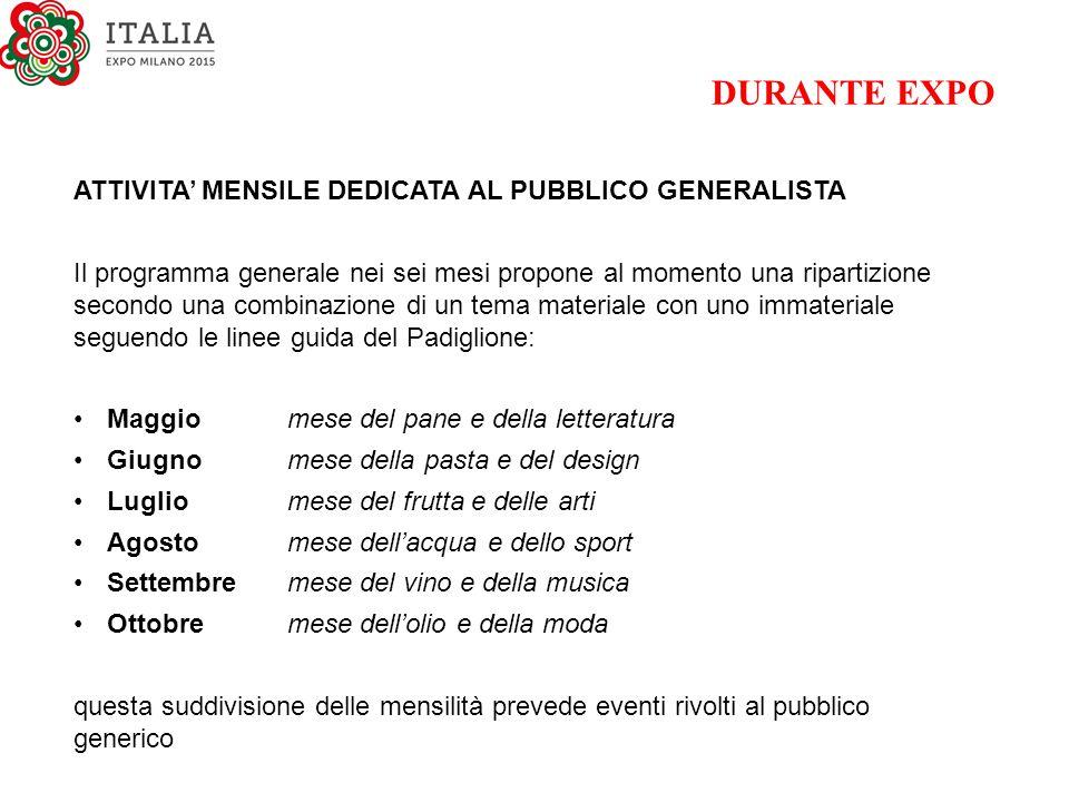 DURANTE EXPO ATTIVITA' MENSILE DEDICATA AL PUBBLICO GENERALISTA
