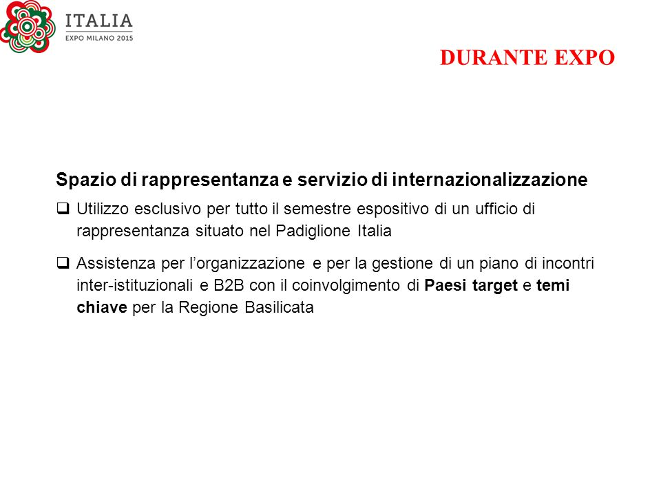 DURANTE EXPO Spazio di rappresentanza e servizio di internazionalizzazione.