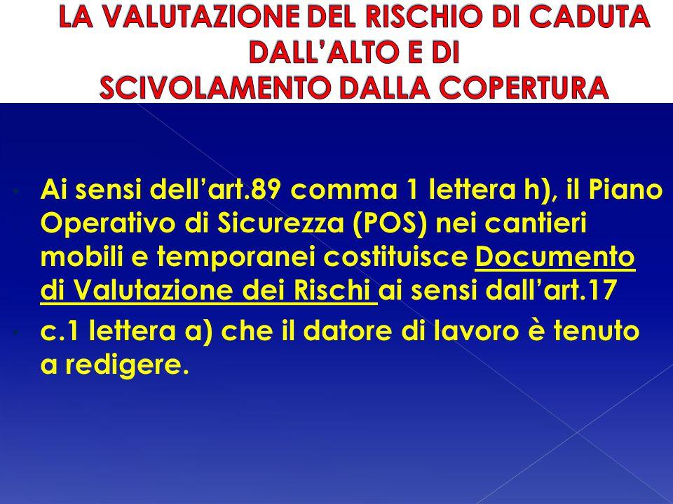 LA VALUTAZIONE DEL RISCHIO DI CADUTA DALL'ALTO E DI SCIVOLAMENTO DALLA COPERTURA