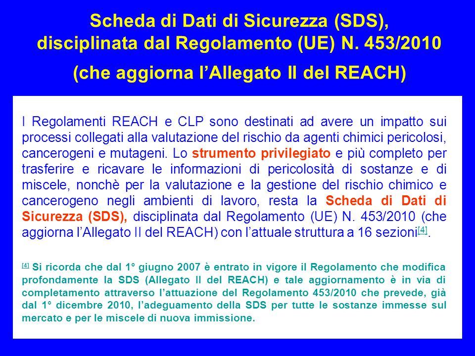 Scheda di Dati di Sicurezza (SDS), disciplinata dal Regolamento (UE) N