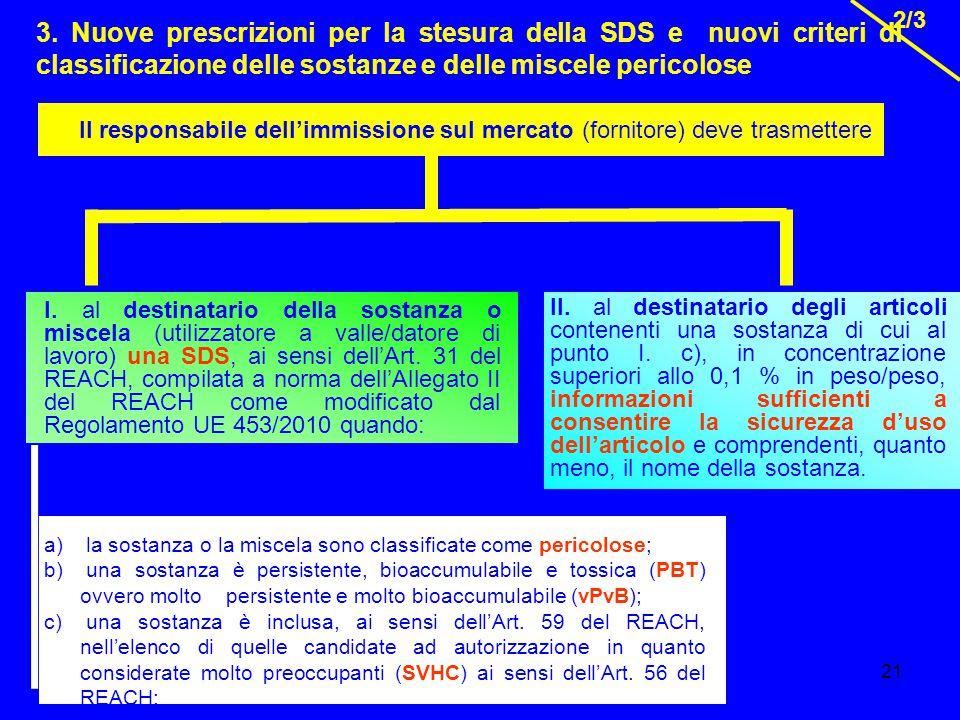 3. Nuove prescrizioni per la stesura della SDS e nuovi criteri di classificazione delle sostanze e delle miscele pericolose