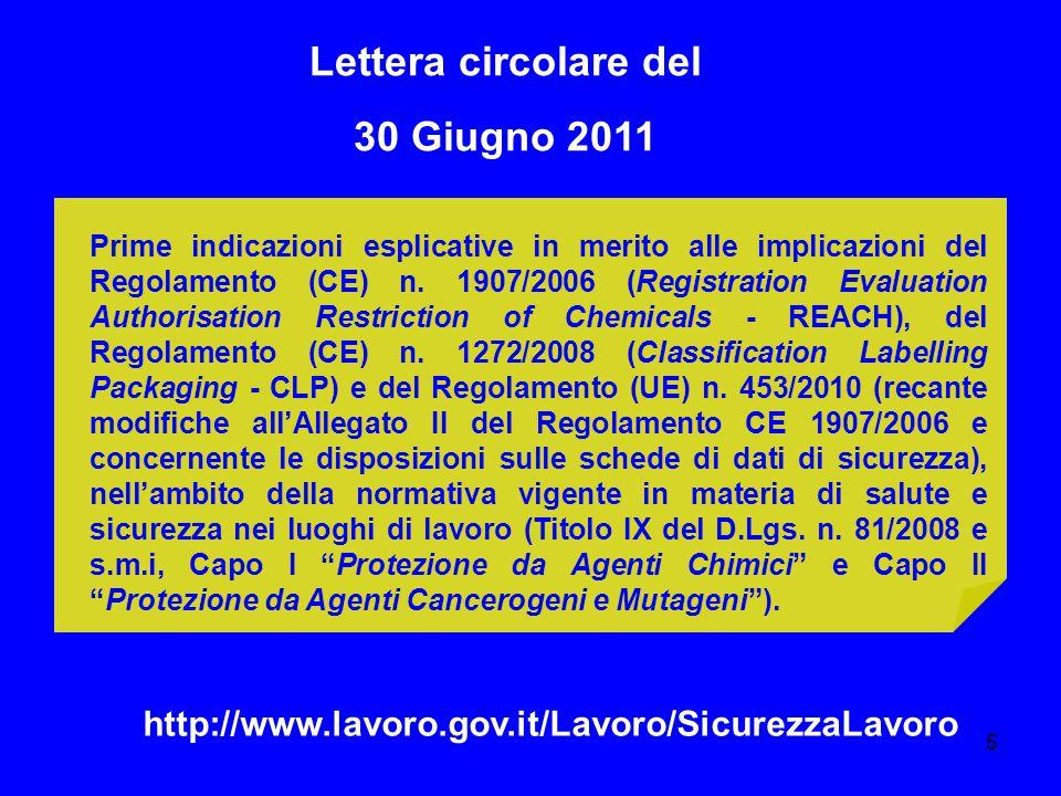 Lettera circolare del 30 Giugno 2011