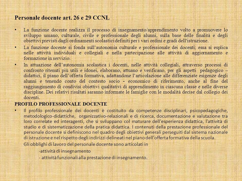 Personale docente art. 26 e 29 CCNL