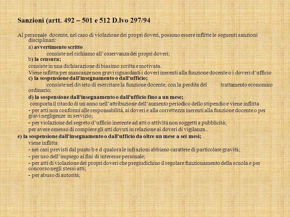 Sanzioni (artt. 492 – 501 e 512 D.lvo 297/94