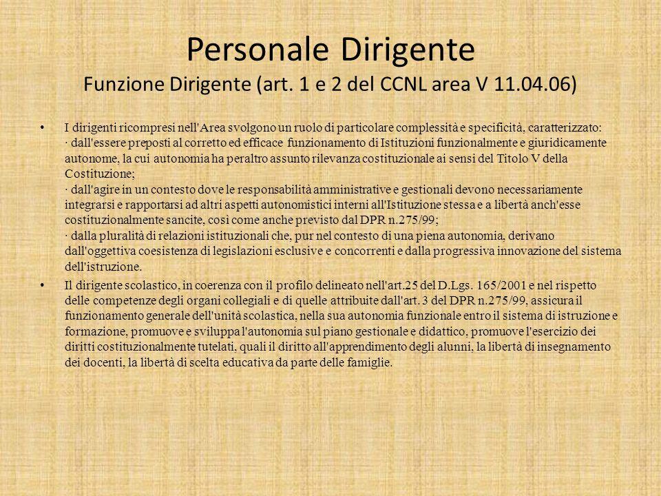 Personale Dirigente Funzione Dirigente (art. 1 e 2 del CCNL area V 11