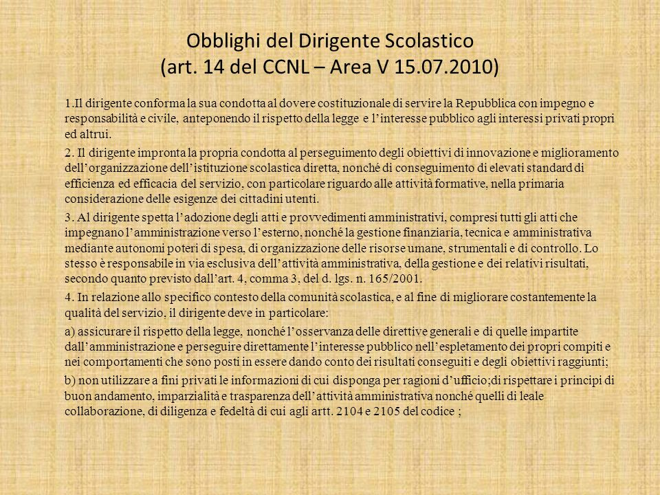 Obblighi del Dirigente Scolastico (art. 14 del CCNL – Area V 15. 07