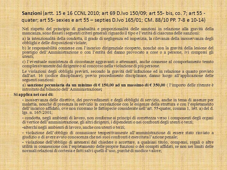 Sanzioni (artt. 15 e 16 CCNL 2010; art 69 D
