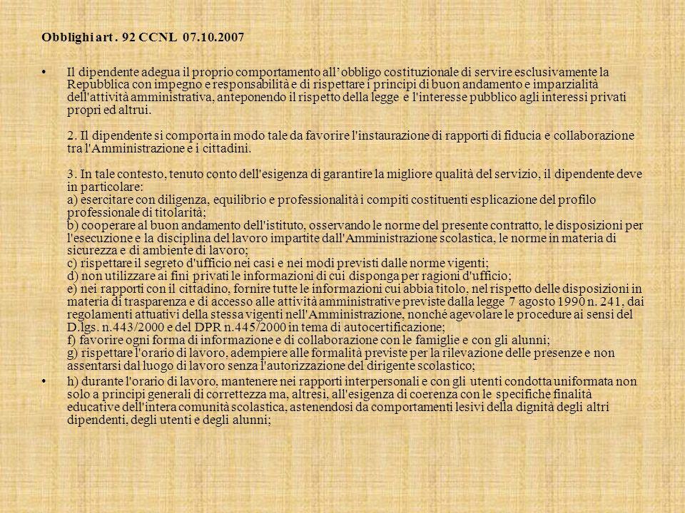 Obblighi art . 92 CCNL 07.10.2007