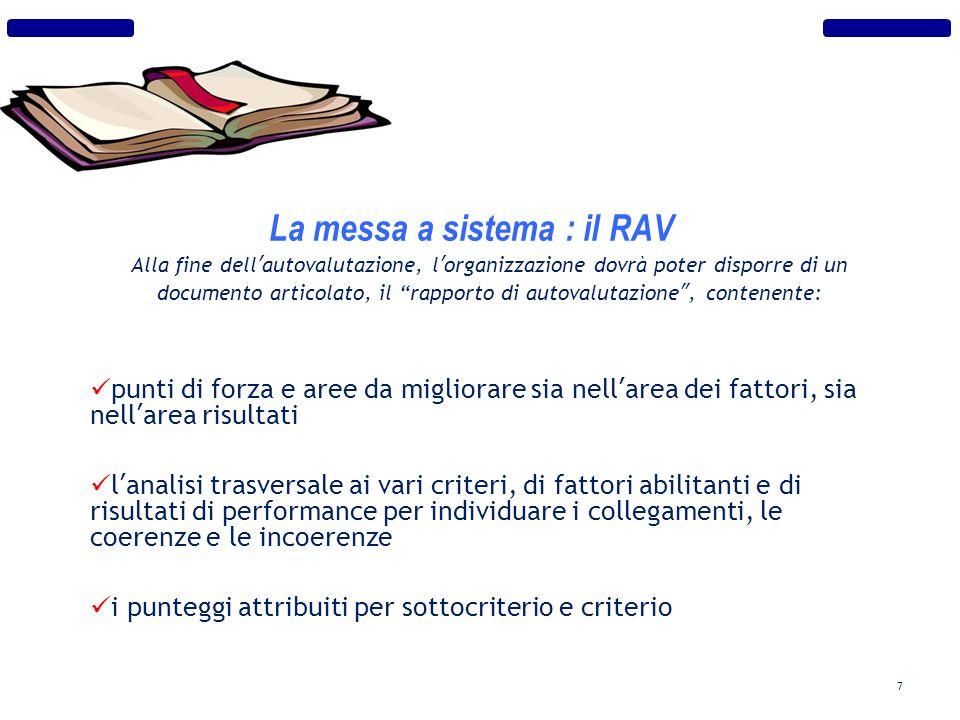 La messa a sistema : il RAV