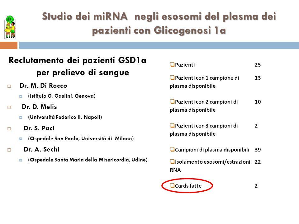 Reclutamento dei pazienti GSD1a per prelievo di sangue
