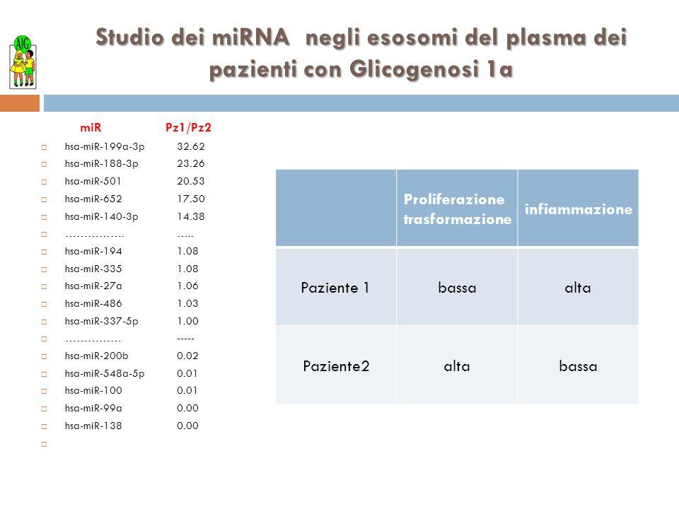 Studio dei miRNA negli esosomi del plasma dei pazienti con Glicogenosi 1a