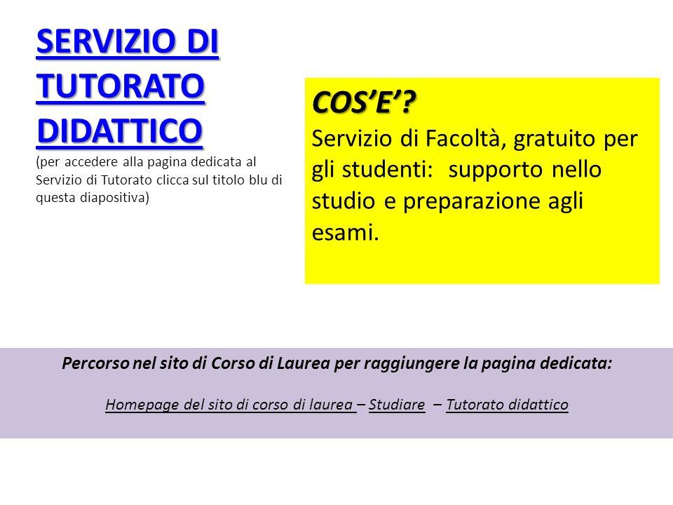 Homepage del sito di corso di laurea – Studiare – Tutorato didattico