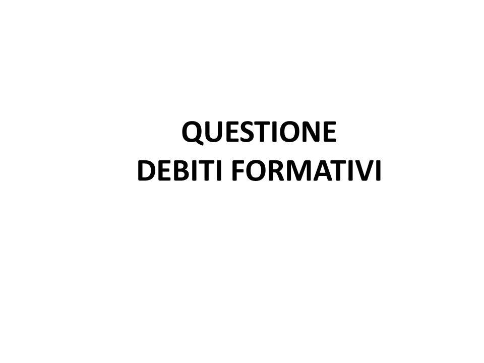 QUESTIONE DEBITI FORMATIVI