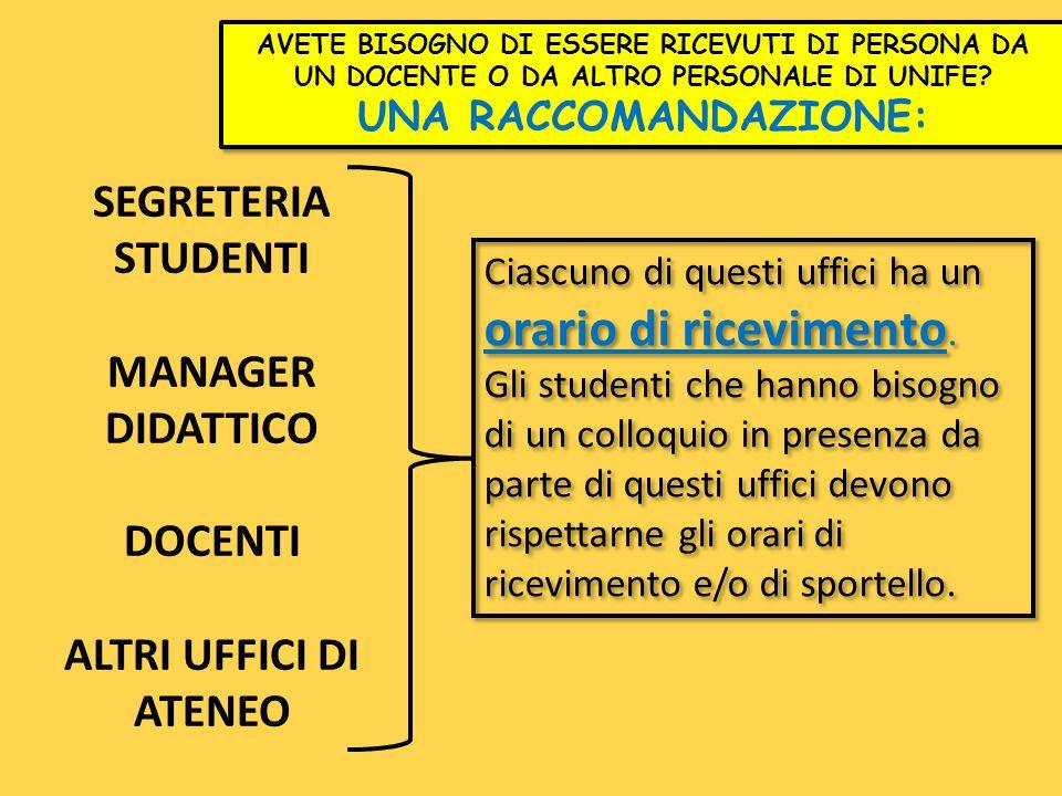 SEGRETERIA STUDENTI MANAGER DIDATTICO DOCENTI ALTRI UFFICI DI ATENEO