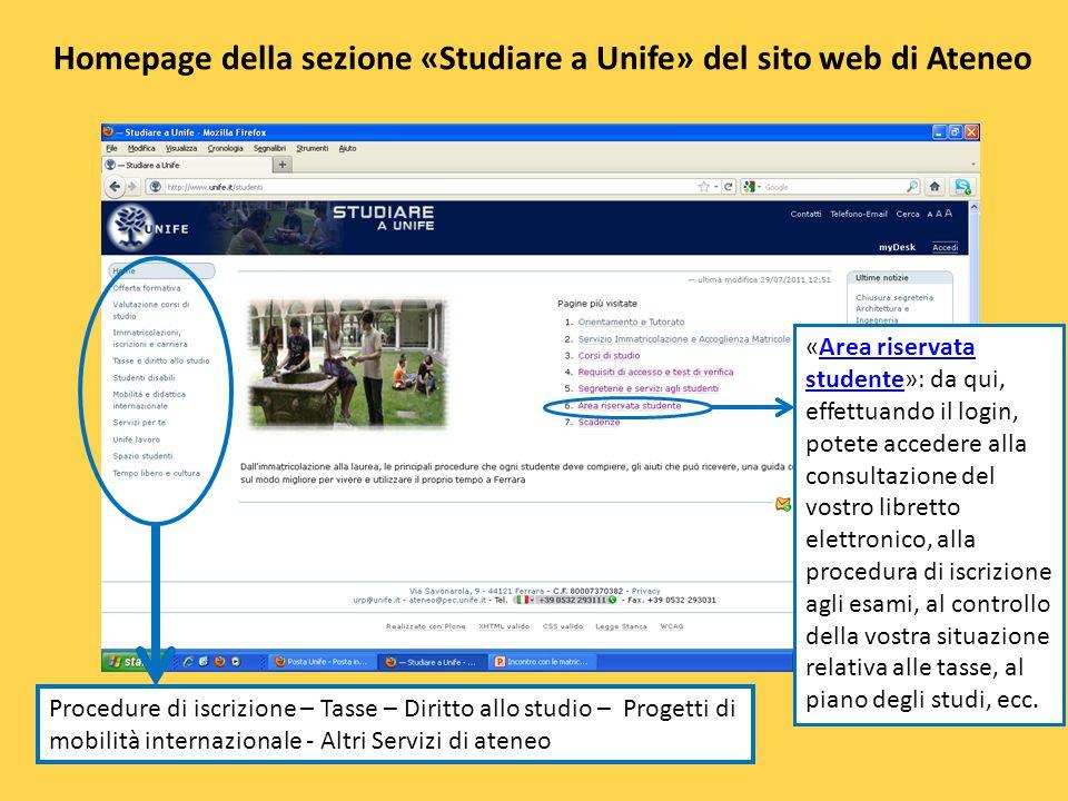 Homepage della sezione «Studiare a Unife» del sito web di Ateneo