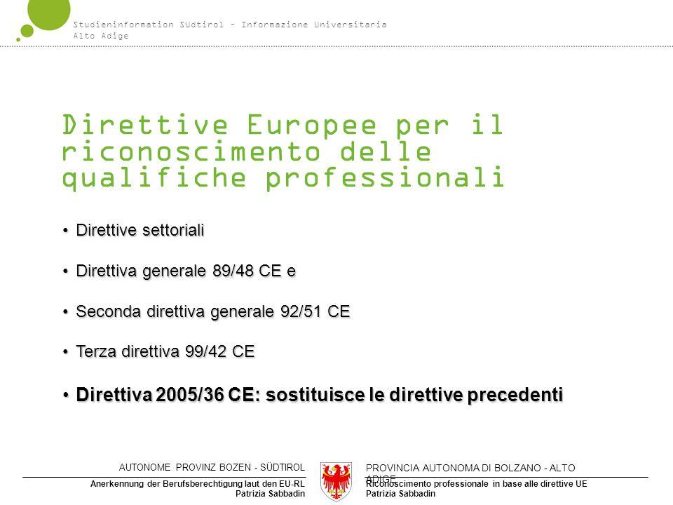Direttive Europee per il riconoscimento delle qualifiche professionali