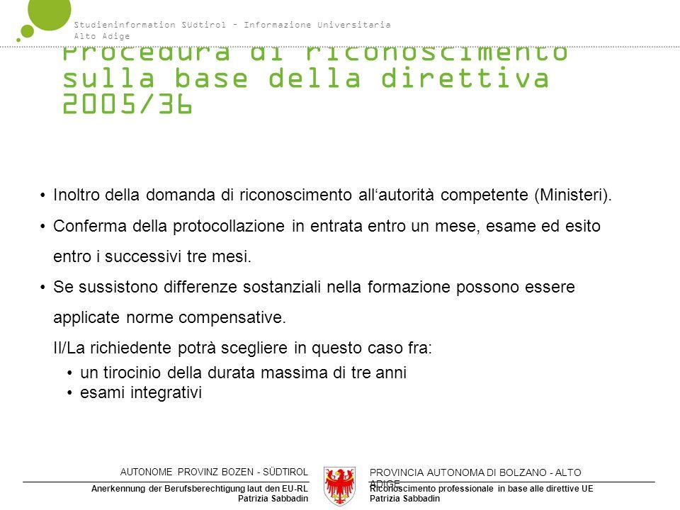 Procedura di riconoscimento sulla base della direttiva 2005/36