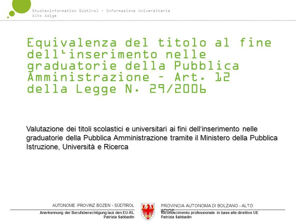 Studieninformation Südtirol – Informazione Universitaria Alto Adige