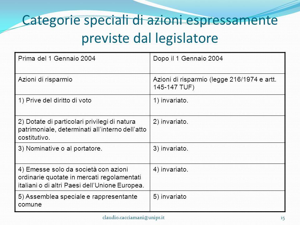 Categorie speciali di azioni espressamente previste dal legislatore