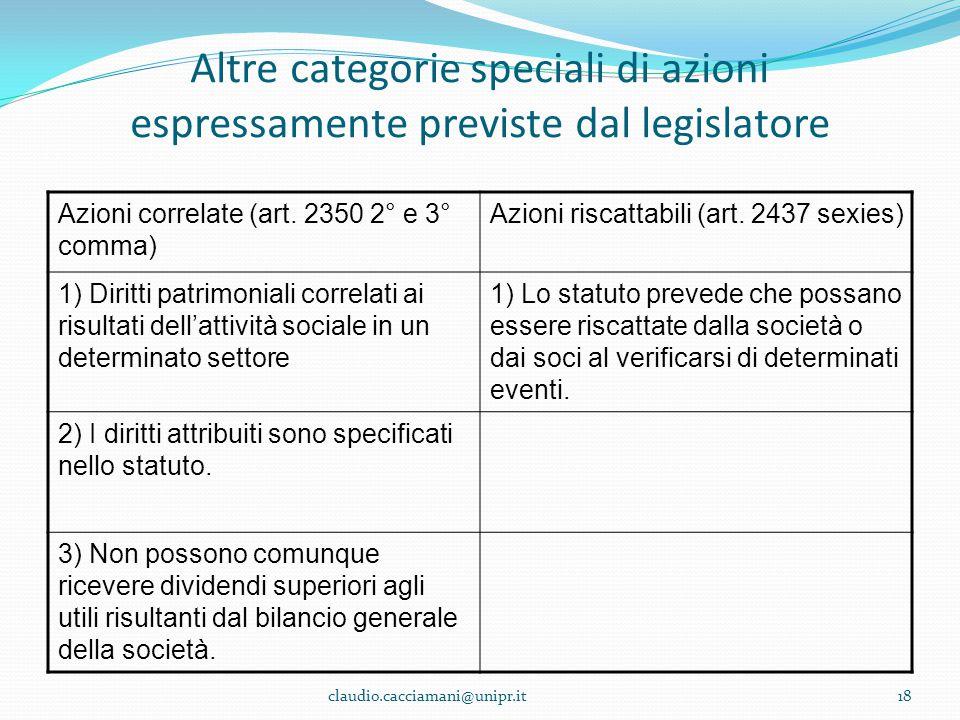 Altre categorie speciali di azioni espressamente previste dal legislatore