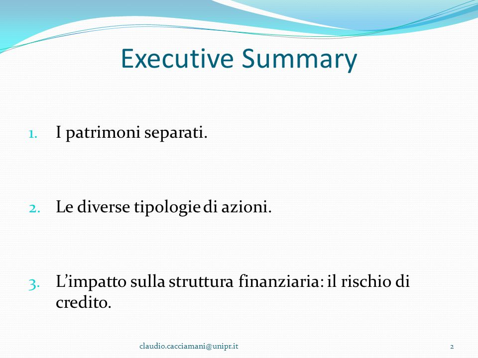 Executive Summary I patrimoni separati.