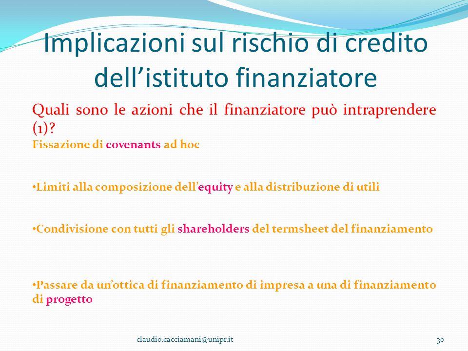 Implicazioni sul rischio di credito dell'istituto finanziatore