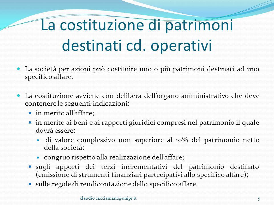 La costituzione di patrimoni destinati cd. operativi