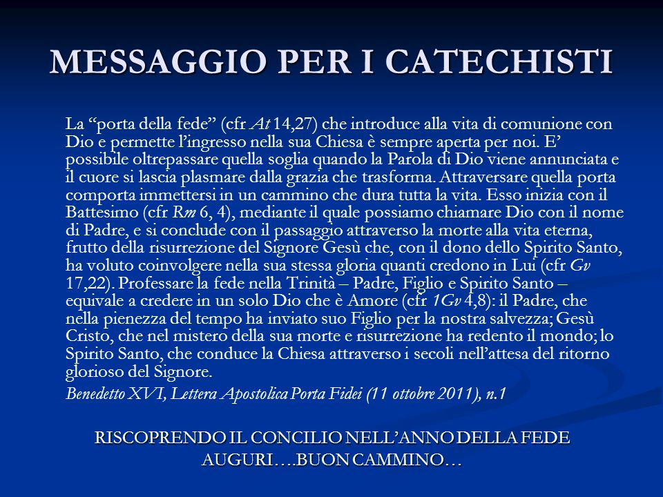 MESSAGGIO PER I CATECHISTI