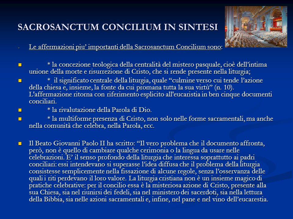 SACROSANCTUM CONCILIUM IN SINTESI