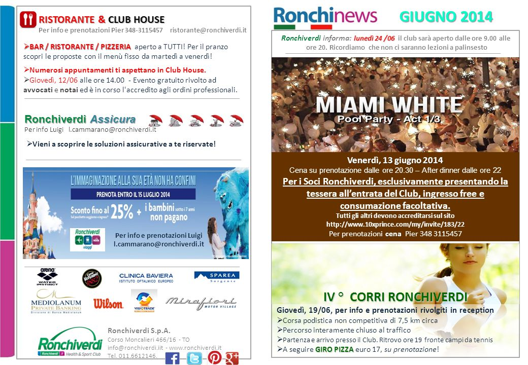 GIUGNO 2014 IV ° CORRI RONCHIVERDI RISTORANTE & CLUB HOUSE