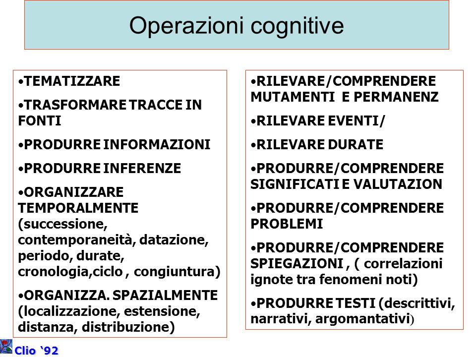 Operazioni cognitive TEMATIZZARE TRASFORMARE TRACCE IN FONTI