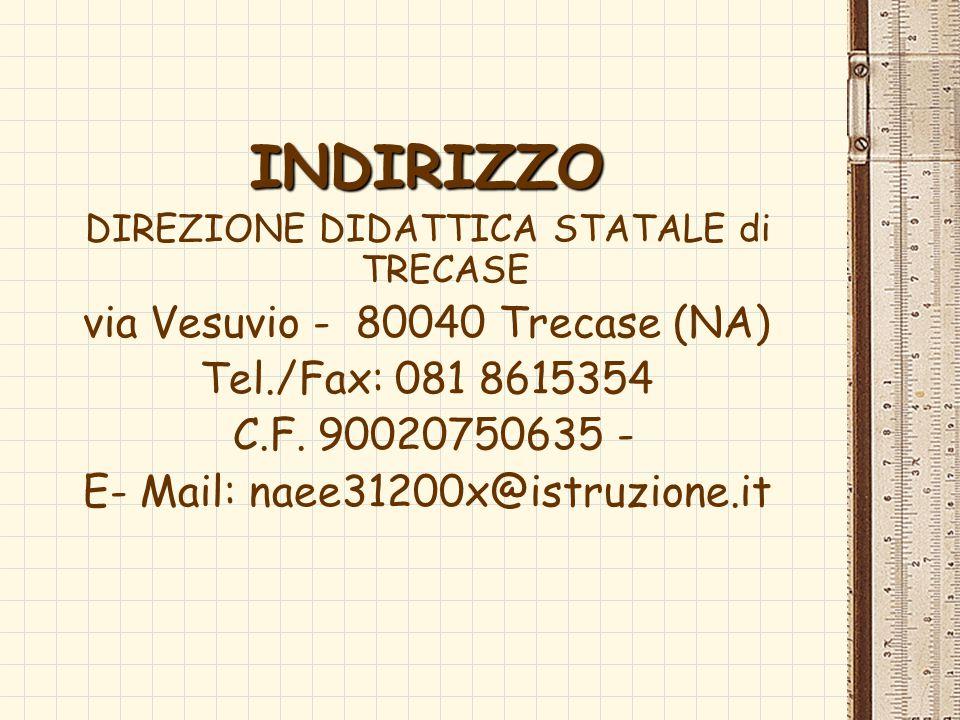 INDIRIZZO via Vesuvio - 80040 Trecase (NA) Tel./Fax: 081 8615354
