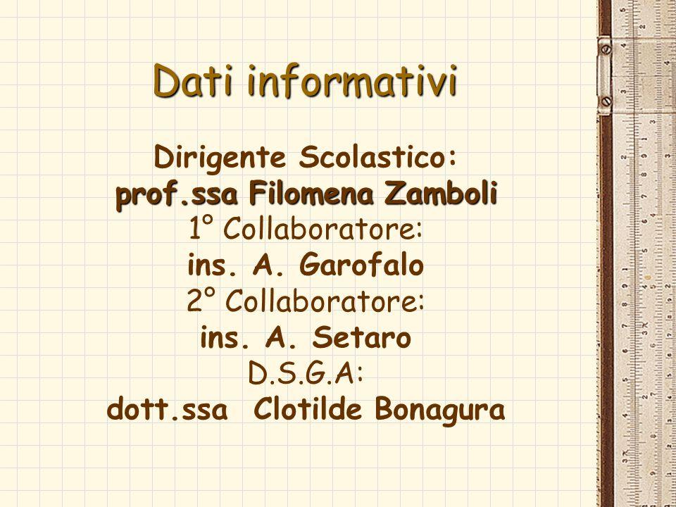 Dati informativi Dirigente Scolastico: prof.ssa Filomena Zamboli