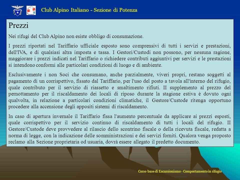 Prezzi Club Alpino Italiano - Sezione di Potenza