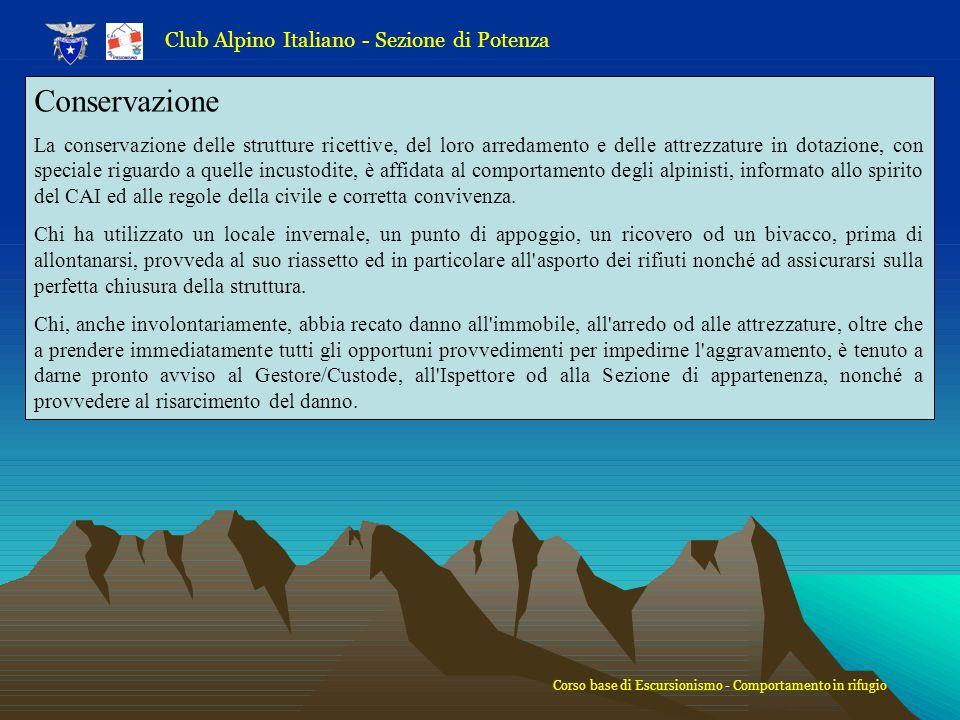 Conservazione Club Alpino Italiano - Sezione di Potenza