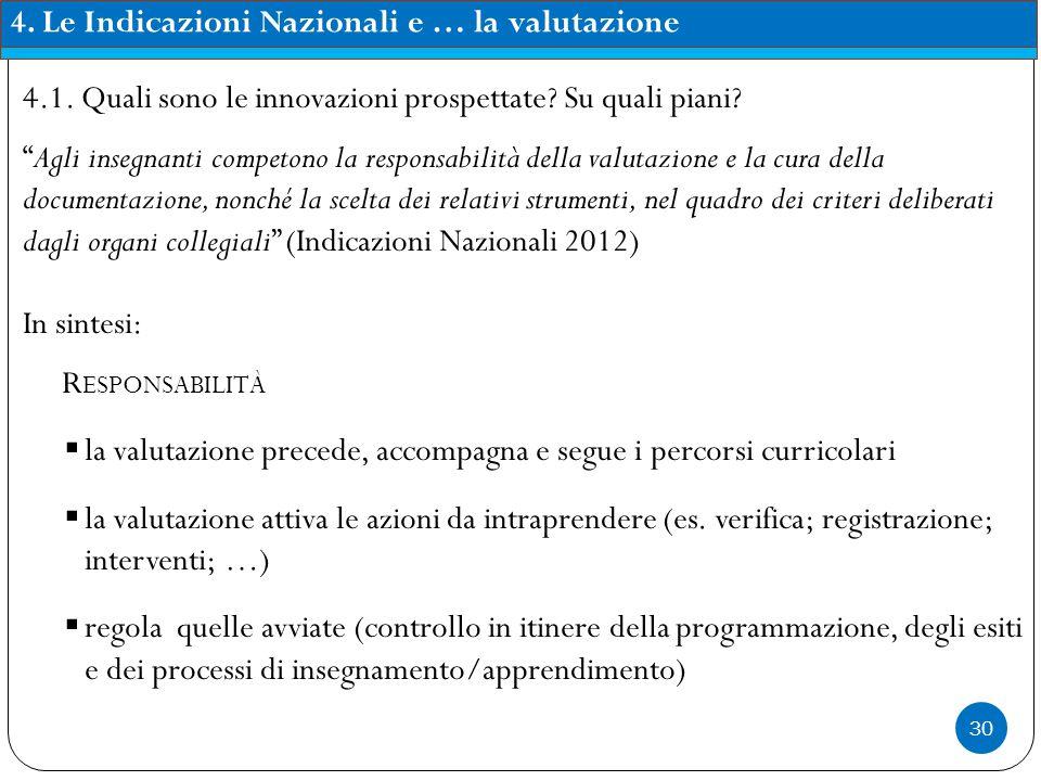 4. Le Indicazioni Nazionali e … la valutazione