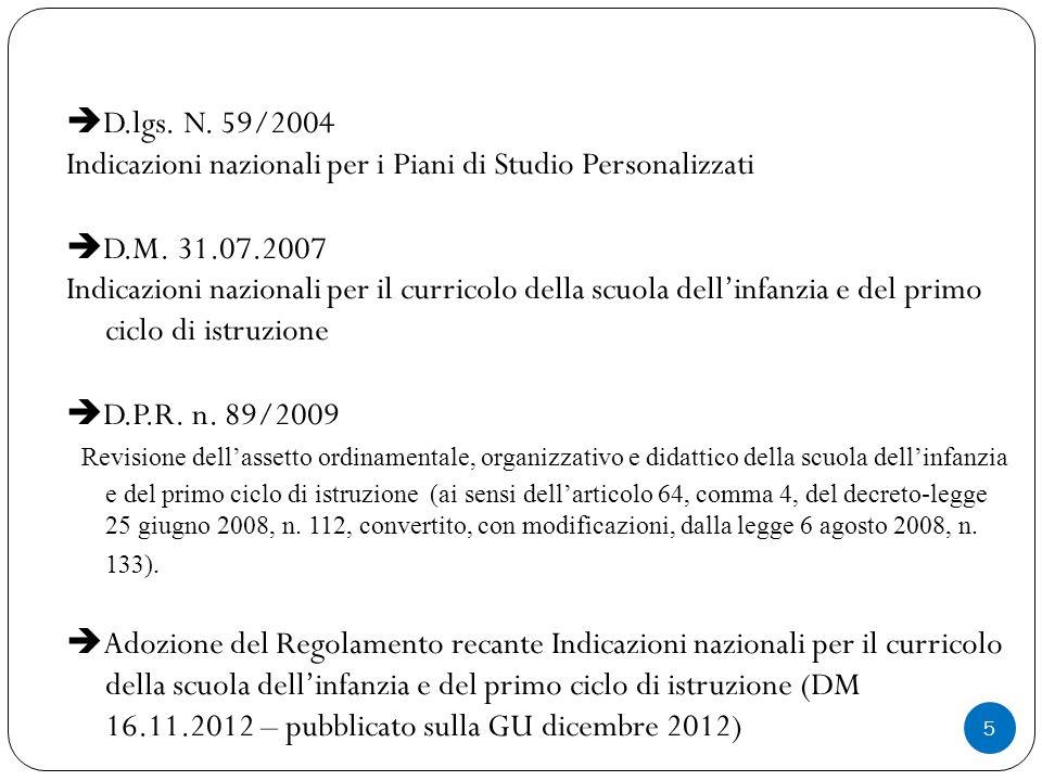 D.lgs. N. 59/2004 Indicazioni nazionali per i Piani di Studio Personalizzati. D.M. 31.07.2007.