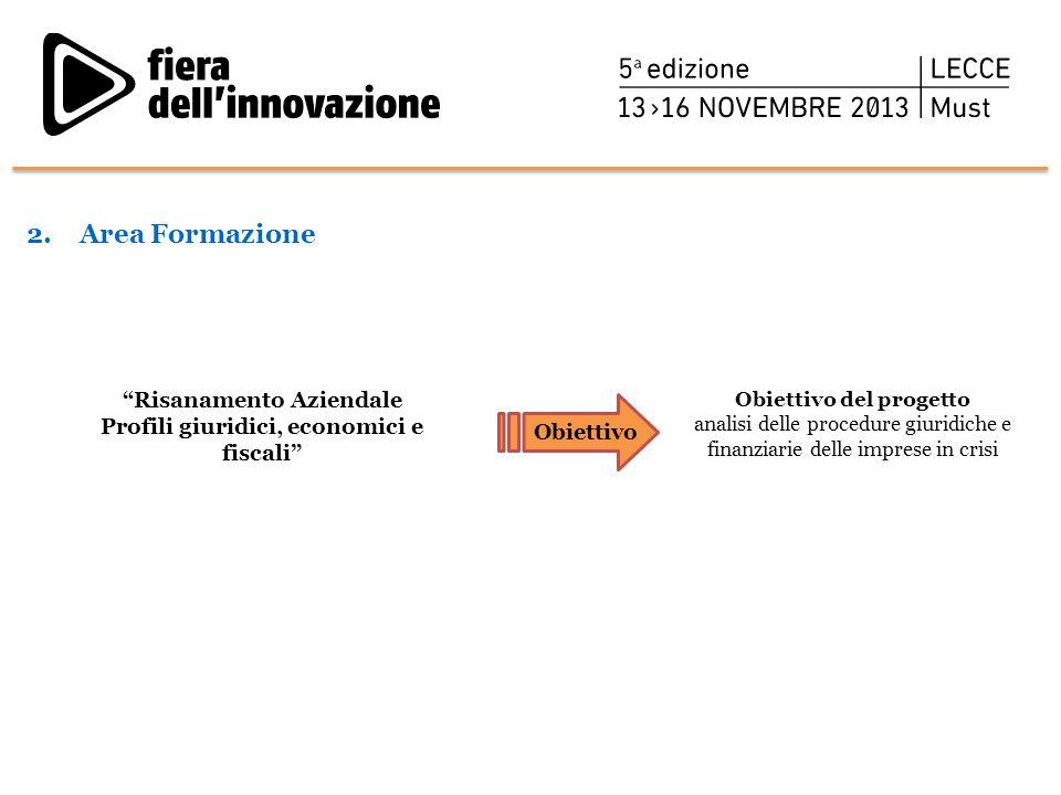 Area Formazione Risanamento Aziendale Profili giuridici, economici e fiscali Obiettivo del progetto.