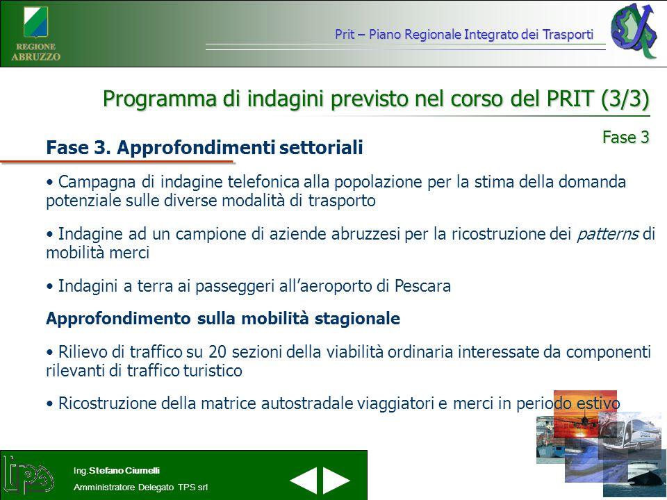 Programma di indagini previsto nel corso del PRIT (3/3)