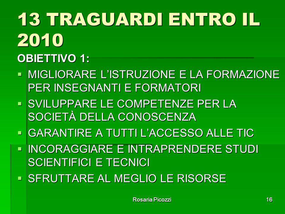 13 TRAGUARDI ENTRO IL 2010 OBIETTIVO 1: