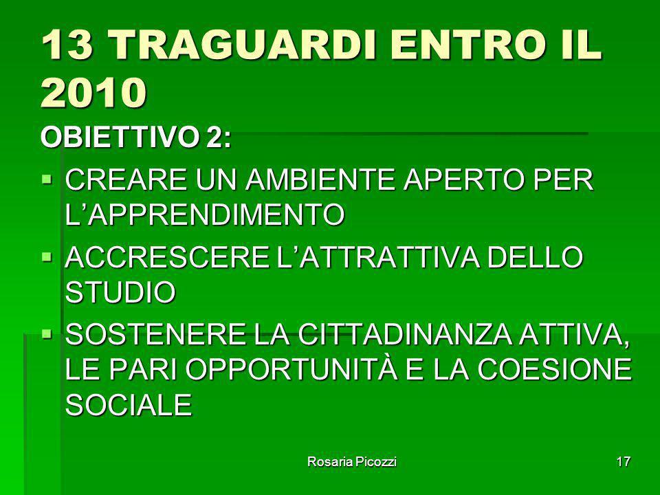 13 TRAGUARDI ENTRO IL 2010 OBIETTIVO 2: