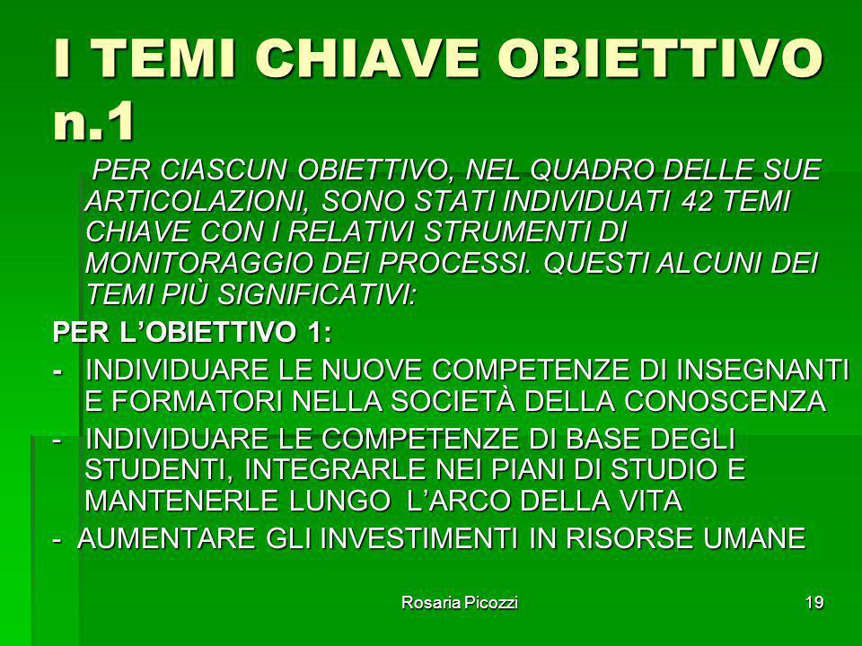 I TEMI CHIAVE OBIETTIVO n.1