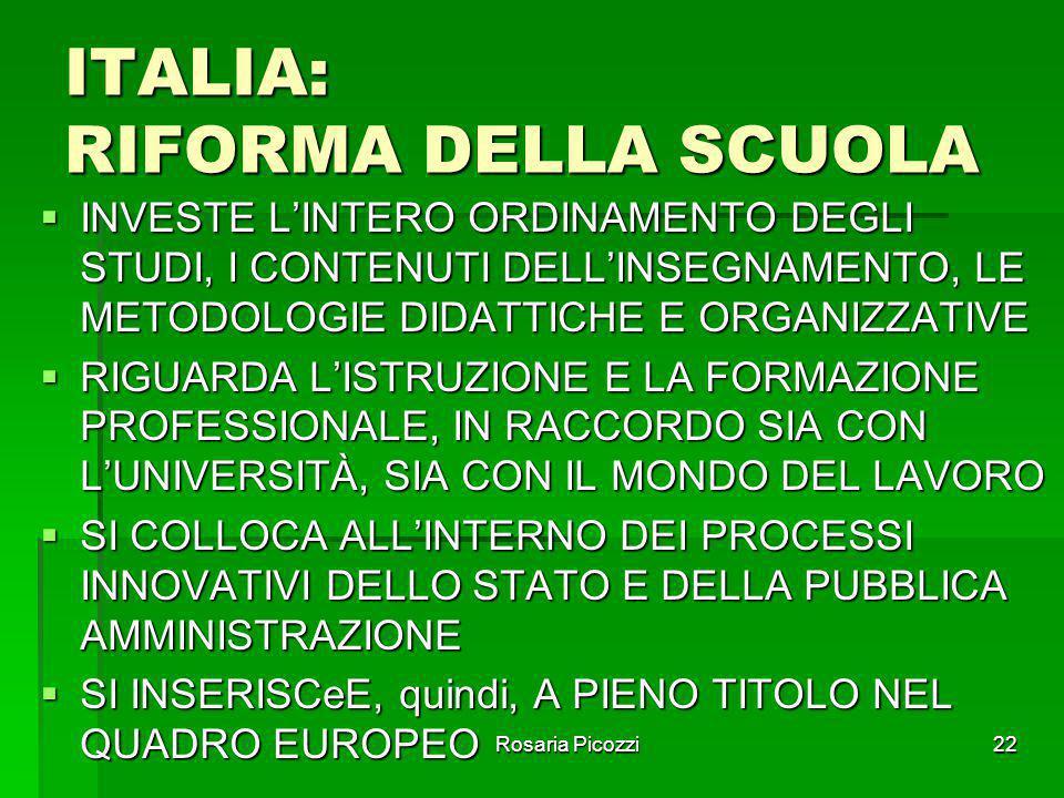 ITALIA: RIFORMA DELLA SCUOLA