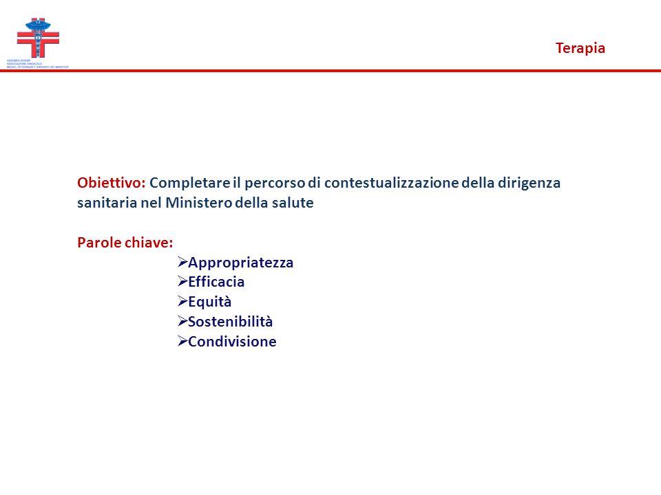 Terapia Obiettivo: Completare il percorso di contestualizzazione della dirigenza sanitaria nel Ministero della salute.